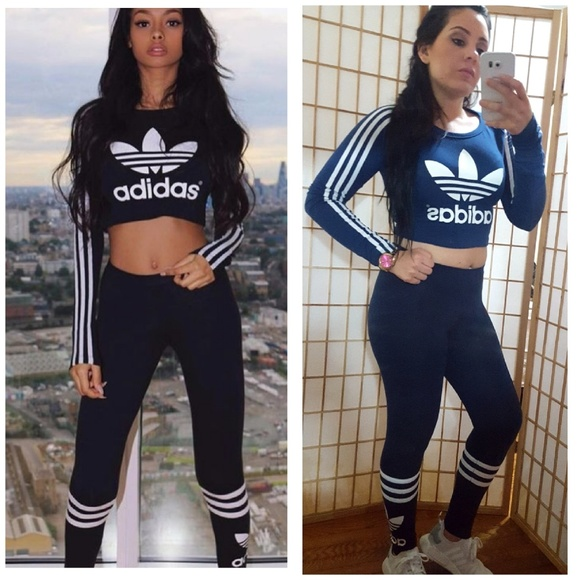 9ba87f5b7a85d adidas Pants - 2PC💙 Navy Blue Adidas Crop Top & Leggings Set S